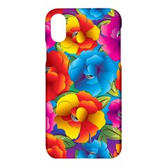 Neon Colored Floral Pattern Apple Iphone X Hardshell Case