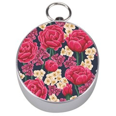 Pink Roses And Daisies Silver Compasses by allthingseveryone