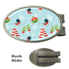 Winter Fun Pattern Money Clips (oval)  by AllThingsEveryone