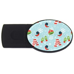 Winter Fun Pattern Usb Flash Drive Oval (4 Gb) by AllThingsEveryone