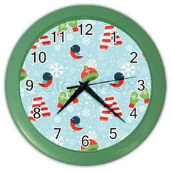 Winter Fun Pattern Color Wall Clocks by allthingseveryone