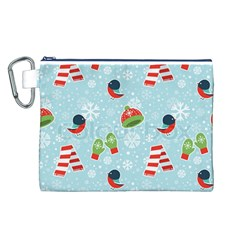 Winter Fun Pattern Canvas Cosmetic Bag (l) by AllThingsEveryone