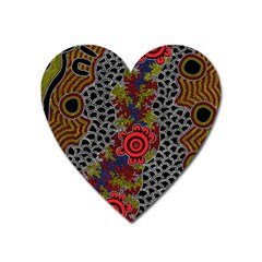 Aboriginal Art   Waterholes Heart Magnet by hogartharts