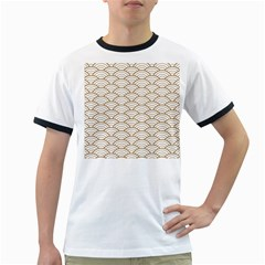 Art Deco,japanese Fan Pattern, Gold,white,vintage,chic,elegant,beautiful,shell Pattern, Modern,trendy Ringer T Shirts
