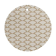 Art Deco,japanese Fan Pattern, Gold,white,vintage,chic,elegant,beautiful,shell Pattern, Modern,trendy Round Ornament (two Sides) by 8fugoso