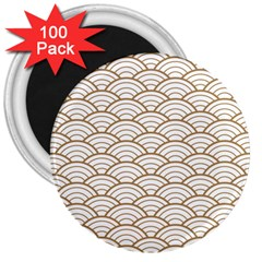 Art Deco,japanese Fan Pattern, Gold,white,vintage,chic,elegant,beautiful,shell Pattern, Modern,trendy 3  Magnets (100 Pack)