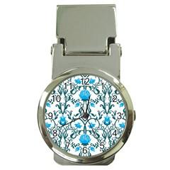Art Nouveau, Art Deco, Floral,vintage,blue,green,white,beautiful,elegant,chic,modern,trendy,belle Époque Money Clip Watches by 8fugoso