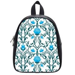 Art Nouveau, Art Deco, Floral,vintage,blue,green,white,beautiful,elegant,chic,modern,trendy,belle ¨ poque School Bag (small) by 8fugoso