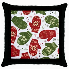 Winter Snow Mittens Throw Pillow Case (black) by AllThingsEveryone