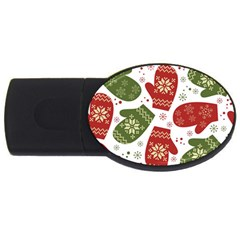 Winter Snow Mittens Usb Flash Drive Oval (2 Gb) by allthingseveryone