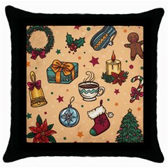 Cute Vintage Christmas Pattern Throw Pillow Case (black) by AllThingsEveryone