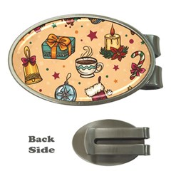 Cute Vintage Christmas Pattern Money Clips (oval)  by AllThingsEveryone