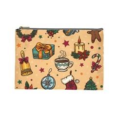 Cute Vintage Christmas Pattern Cosmetic Bag (large)  by AllThingsEveryone
