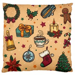 Cute Vintage Christmas Pattern Large Cushion Case (two Sides) by AllThingsEveryone
