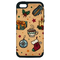 Cute Vintage Christmas Pattern Apple Iphone 5 Hardshell Case (pc+silicone) by allthingseveryone