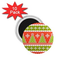 Christmas Tree Ugly Sweater Pattern 1 75  Magnets (10 Pack)  by allthingseveryone