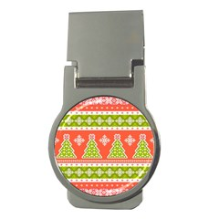 Christmas Tree Ugly Sweater Pattern Money Clips (round)  by allthingseveryone