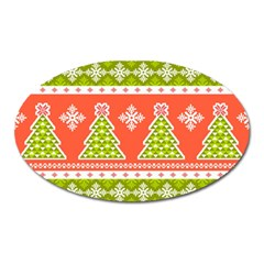 Christmas Tree Ugly Sweater Pattern Oval Magnet by allthingseveryone