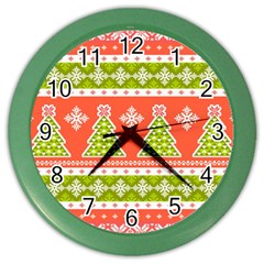 Christmas Tree Ugly Sweater Pattern Color Wall Clocks by allthingseveryone
