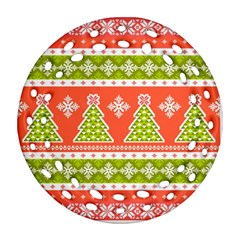 Christmas Tree Ugly Sweater Pattern Ornament (round Filigree) by allthingseveryone