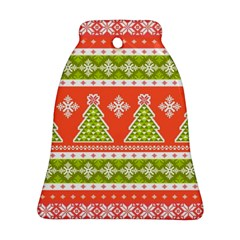 Christmas Tree Ugly Sweater Pattern Bell Ornament (two Sides) by AllThingsEveryone