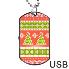 Christmas Tree Ugly Sweater Pattern Dog Tag Usb Flash (one Side) by allthingseveryone