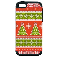 Christmas Tree Ugly Sweater Pattern Apple Iphone 5 Hardshell Case (pc+silicone) by allthingseveryone