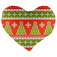 Christmas Tree Ugly Sweater Pattern Large 19  Premium Heart Shape Cushions by allthingseveryone