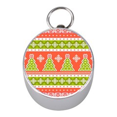 Christmas Tree Ugly Sweater Pattern Mini Silver Compasses by allthingseveryone