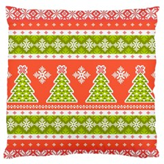 Christmas Tree Ugly Sweater Pattern Large Flano Cushion Case (one Side) by allthingseveryone