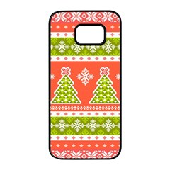 Christmas Tree Ugly Sweater Pattern Samsung Galaxy S7 Edge Black Seamless Case by AllThingsEveryone