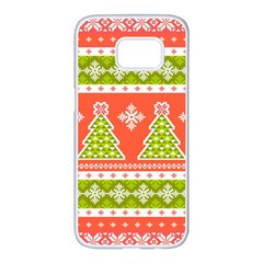 Christmas Tree Ugly Sweater Pattern Samsung Galaxy S7 Edge White Seamless Case by AllThingsEveryone