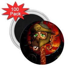Funny Giraffe With Helmet 2 25  Magnets (100 Pack)  by FantasyWorld7