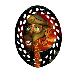 Funny Giraffe With Helmet Ornament (oval Filigree) by FantasyWorld7