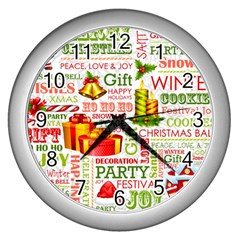 The Joys Of Christmas Wall Clocks (silver)  by allthingseveryone