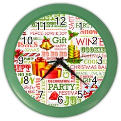 The Joys Of Christmas Color Wall Clocks by allthingseveryone