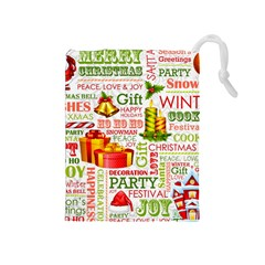 The Joys Of Christmas Drawstring Pouches (medium)  by allthingseveryone