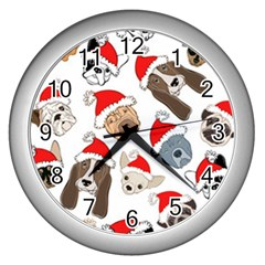 Christmas Puppies Wall Clocks (silver)  by allthingseveryone