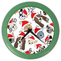 Christmas Puppies Color Wall Clocks by allthingseveryone