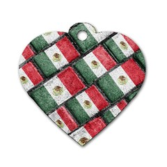 Mexican Flag Pattern Design Dog Tag Heart (one Side) by dflcprints