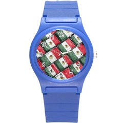 Mexican Flag Pattern Design Round Plastic Sport Watch (s) by dflcprints