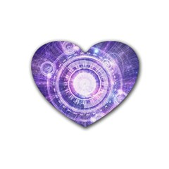 Blue Fractal Alchemy Hud For Bending Hyperspace Rubber Coaster (heart)  by beautifulfractals