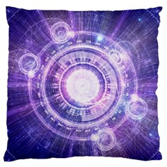 Blue Fractal Alchemy Hud For Bending Hyperspace Large Flano Cushion Case (two Sides) by beautifulfractals