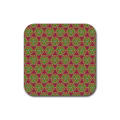 Red Green Flower Of Life Drawing Pattern Rubber Square Coaster (4 Pack)  by Cveti