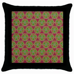 Red Green Flower Of Life Drawing Pattern Throw Pillow Case (black) by Cveti