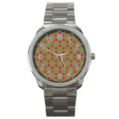 Red Green Flower Of Life Drawing Pattern Sport Metal Watch by Cveti