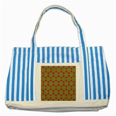 Red Green Flower Of Life Drawing Pattern Striped Blue Tote Bag by Cveti