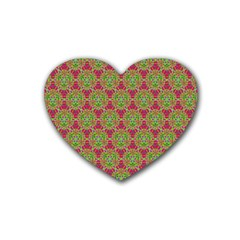 Red Green Flower Of Life Drawing Pattern Heart Coaster (4 Pack)  by Cveti
