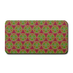 Red Green Flower Of Life Drawing Pattern Medium Bar Mats by Cveti