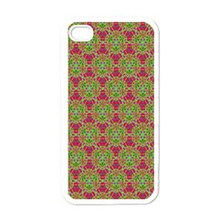 Red Green Flower Of Life Drawing Pattern Apple Iphone 4 Case (white) by Cveti